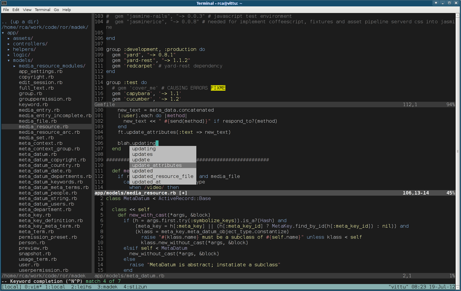 Stephen Cheng: Building your own Sublime out of free components with vim